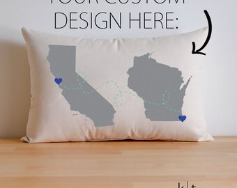 Personalized State to State / State to Country Cotton Canvas Pillow - Map Pillow - Going Away Gift - Housewarming Gift - Long Distance