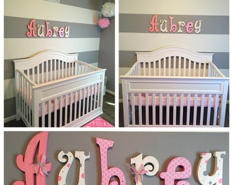 Nursery wall decor, Nursery decor, Hanging nursery letters, nursery letters, baby girl nursery letters, nursery decor, nursery wall letters