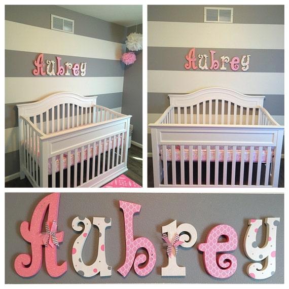 Nursery wall decor nursery decor hanging nursery letters for Alphabet mural nursery