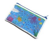 Under the Sea Illustrated Handmade zipper cotton pouch, purse, wallet, cosmetic bag, makeup organizer, clutch - Ocean Fish Beach Blue themed