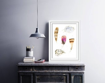 "Original watercolor painting  ""Few Feathers"" - Prints available- Feathers painting - watercolor art - Wall Decor - Art print - Feather Art"
