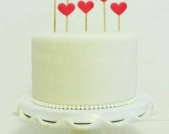 Pretty hearts fondant cake / cupcake decoration