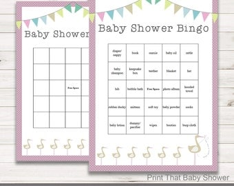 Baby Shower Games - Baby Shower Bingo - Pink Stork Baby Shower - Pink Stork Shower Games - Bingo Shower Games - Pink Bunny and Stork
