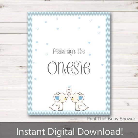 baby shower sign the onesie sign baby elephant baby shower blue
