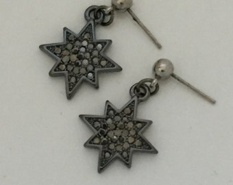 Starburst gunmetal and hematite pave post earrings