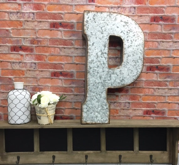 Metal letter wall decor letter p large by theshabbystore Wall letters decor