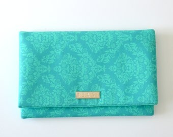 Turquoise Damask Fabric Clutch Bag