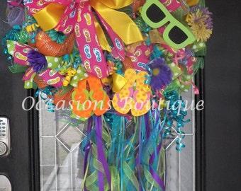 XL Deco Mesh Summer Wreath, Spring Wreath, Door Hanger, Front Door Wreath