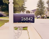 Modern Mailbox Number Decal, Custom Mailbox Sticker - 004