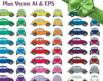 54 x Retro VW Beetle Bug Vector Clipart Instant Downloadable Digital Images ai eps png Rainbow Colours completely editable