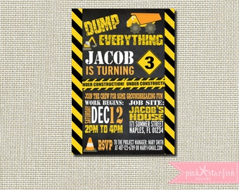 Construction Birthday Invitation, Dump Truck Invitation, Construction Invitation, Construction Invite,  Construction Party Invitation
