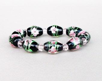 Black Glass Bracelet / Geometric Bracelet / Strech Braselet / Cristal Bracelet / Flowers Bracelet