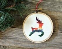 Reindeer Ornament - Mountain Sunset - Landscape Scenery - Christmas Decor -  Embroidery Hoop Art