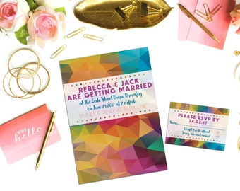 Magnetic Geometric Wedding Invitations. 300GSM Heavyweight Magnetic Paper  A6 Size. Make Personalised Invitations.