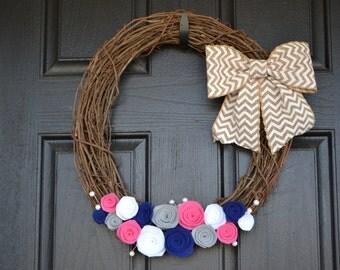 Chevron Burlap and Felt Grapevine Front Door Wreath - white, navy blue, grey, pink  - spring summer