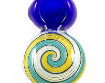 Unique Round Chamber Spoon Pipe - Compact Disc Shape Smoking Bowl w/ Trippy Pinwheel Swirls & Cobalt Blue Glass