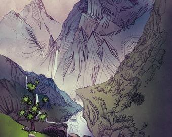 LARGE SIZE - Cliffs and Waterfalls Landscape Illustration Print