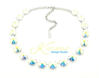 CRYSTAL AB 14mm Crystal Rivoli Choker Made With Swarovski Elements *Pick Your Finish *Karnas Design Studio *Free Shipping