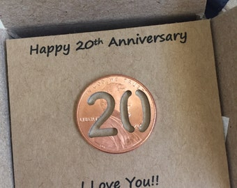 20th Anniversary, Happy Anniversary, Anniversary Gift, Twenty Year, Lucky Penny, anniversary gift for him, anniversary gift for her