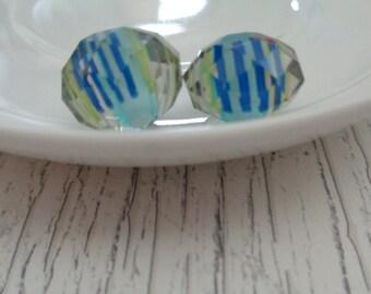 Czech Glass Crystal Beads Blue Yellow Clear Crystal Coating Rondelle Faceted Beads Czech Glass Large Crystal Rondelles Blue Yellow Stripes