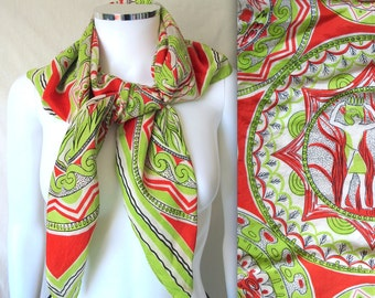 Vintage 70s Pure Silk Scarf with Egyptian Design by Seco Scarfs