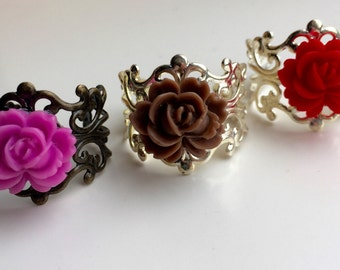 Pink and Brown Resin Flower Ring - Adjustable Filigree Ring - Flower Ring - Brown Adjustable Ring - Rose Ring - Boho Ring - Statement Ring