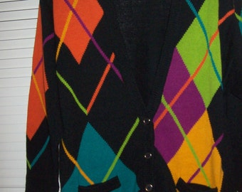 Sweater XL,  I B Diffusion Harlequin  Turq. Orange, Lime , Black Cardigan Sweater  XL