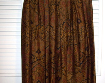 Vintage J H Collectibles Maxi Rich Paisley Pleated Skirt.  Size 6