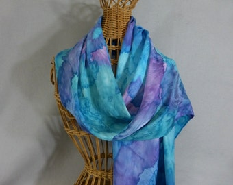 """Silk Scarf """"Turquoise Blend"""", Hand Painted Silk Jacquard Scarf"""