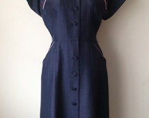 Vintage 1950s silk navy Betty Hartford  short sleeve button up dress with pink piping sz S