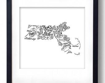 Massachusetts - Hand drawn illustrations and type