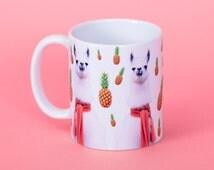 Pineapple Llamas funny mug, gifts for him, meme mug, unique mug, office mug, housewarming gift, gifts for her 4P056E