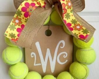 Flower Tennis Wreath with Monogram