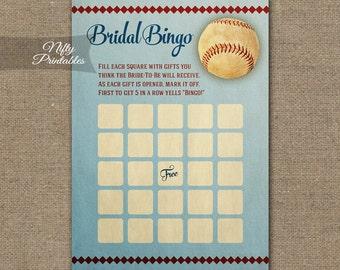 Baseball Bridal Bingo Shower Game - Baseball Shower Games - Baseball Bridal Bingo Cards - Printable Wedding Shower Bridal Games BSB