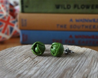 By the Shed Brussel Sprout Green Earrings - Vegetables - Gardening - Gift - Unique Present - Jewellery - Allotment - Festive, Christmas