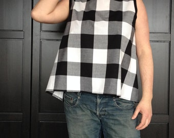 Womens retro-style gingham top/Boat-neck swing top/Loose a-line fit/Sleeveless checkered tank/Gift for Mom/Made to order/ Sizes XS-XXL