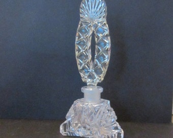 Vintage Clear and Green Czechoslavakian Genuine Hand Cut Crystal Perfume Bottle Edward G Westlake Co. Importers Chicago, IL
