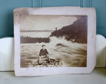 Antique Sepia Photo Mustachioed Man Boater Hat Niagra Falls Bridge Background