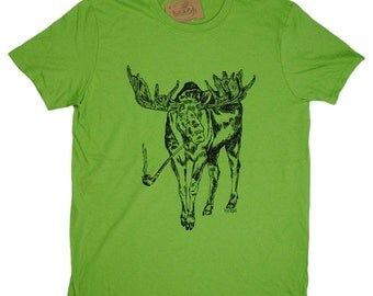 Mens T Shirt - Pipe Smoking Moose T Shirt - Animal Tee Shirts - Forest Animals T Shirt - Graphical Tees - Mens Green Tee Shirts S M L XL 2XL