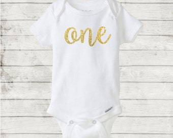 One Year Cursive/Script Glitter Birthday Onesie/Bodysuit. CUSTOM/Any color. 12 month/one year baby birthday gift