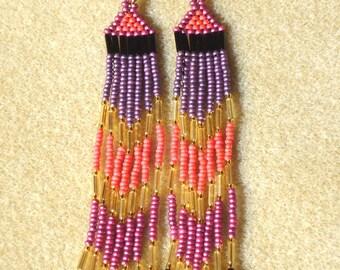 Long seed bead earrings, long fringe earrings, beaded earrrings, boho, hippie, chic, fall, autumn, purple earrings