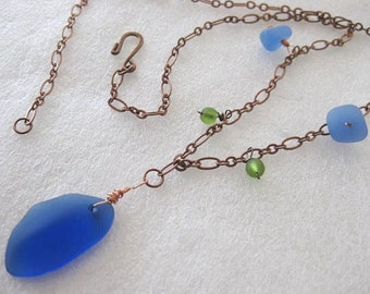 Necklace ~ Sea Glass on Antique Brass Chain  Blue Green