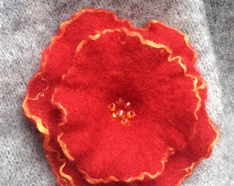 Brooch Flower Brooch Felt Brooch Felted brooch  in red and orange