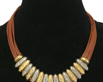 Vintage leather necklace with silver and gold details