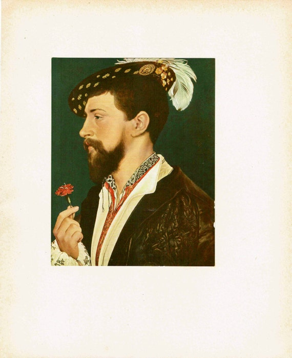 Antique print of painting by Hans Holbein the Younger of George Cornwall, court figure in England, high quality print, 1926