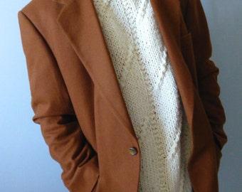 Hipster Mens Tan Wool Cashmere Sport Jacket -  Medium UK 40 - UK Made Blazer, St. Michael Vintage 90s Classic Preppy Ivy League Jacket
