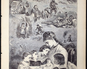 The Children's Hour, Telling Fairy Stories by W.H. Caldwell 1875 Engraving Large size 11 1/2 x 16