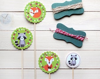 Cake Toppers + stickers - Woodland theme party