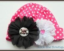 Skull Baby Beanie, Baby Hat, Bright Pink, Polka Dot Baby Hat, Baby Shower Gift, New Baby Gift, Hospital Gift Idea, Lace, Skull Flower Hat