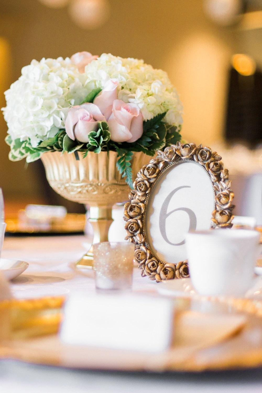 Gold Goblet / Bouquet / Wedding Flowers / Gold Pedestal Vase